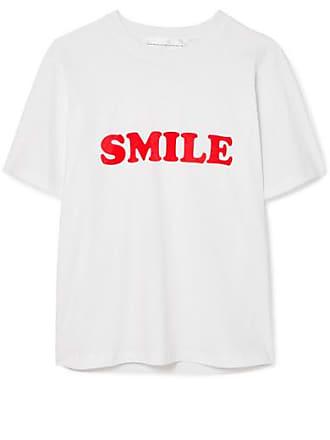 e592018b228 Victoria Beckham T-shirt En Jersey De Coton Floqué - Blanc