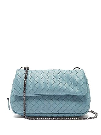 Bottega Veneta Intrecciato Mini Leather Messenger Cross Body Bag - Womens - Light Blue