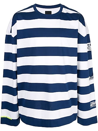 Juun.J Camisa listrada com logo - Branco