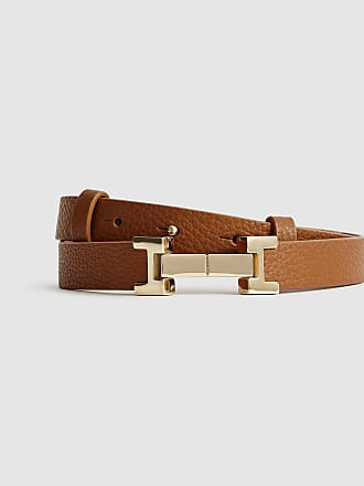 1be50b1c2 Reiss Hayley - Leather Square Hinge Belt in Tan, Womens, Size XS