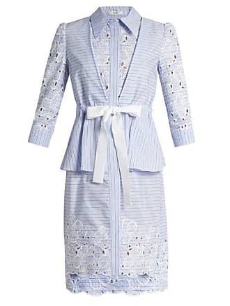 Erdem Zuni Striped Broderie Anglaise Dress - Womens - Blue White