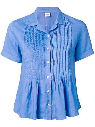 Aspesi Camisa mangas curtas com pregas - Azul