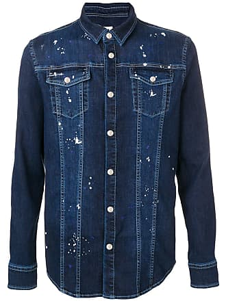 Les Hommes denim panelled patch shirt - Azul