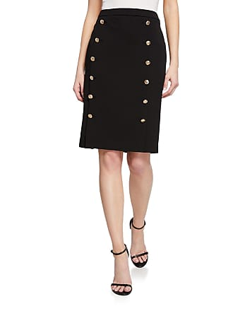 Iconic American Designer Gold Button Pencil Skirt