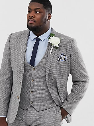bb8455d3fbd81a Asos Plus wedding super skinny suit jacket in micro grey houndstooth