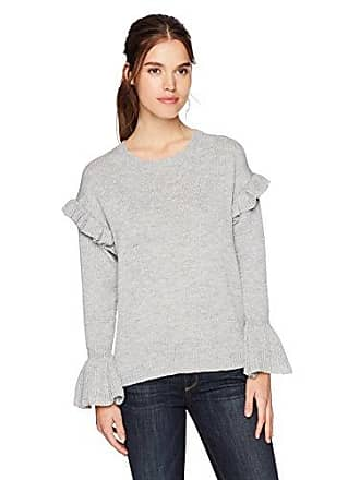 En Crème En Creme Juniors Long Sleeve Ruffle Sweater, Gray, Small