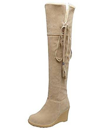 0cfdf7ffea6db3 Aiyoumei Damen Winter Keilabsatz Overknee Stiefel mit Schnürsenkel und 7cm  Absatz Bequem Freizeit Keilstiefel