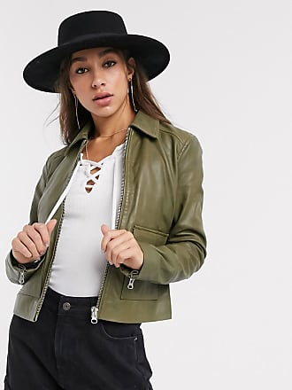 Object leather jacket with pocket details in olive-Green
