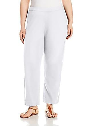 Joan Vass Womens Plus Size Ankle Stretch Interlock Pant, White, 2X