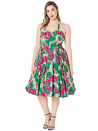 c7227f654244 Unique Vintage Plus Size Unique Vintage x Alfred Shaheen Kahuna Print Swing  Dress (Green)