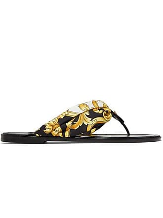 64938b1e2 Versace Printed Silk-twill And Leather Sandals - Gold
