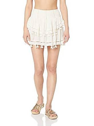 Ramy Brook Womens Lurex Morocco Fringe Mini Skirt, White, Large