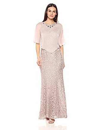 Ignite Womens Dress Zipper Sequin Lace Beaded Gown, Cape Buff, 12