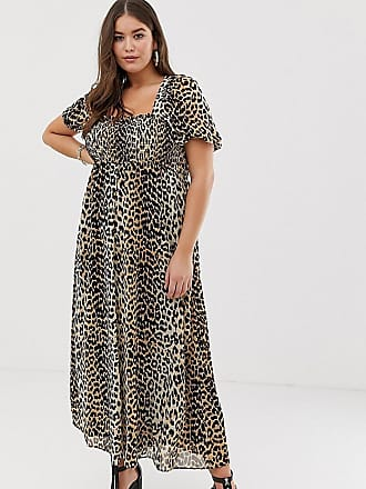 9cf0ce5be96 Asos Curve ASOS DESIGN Curve shirred bustier maxi dress with puff sleeve in  animal print -