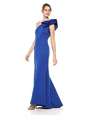 Eliza J Womens One Shoulder Gown with Ruffle Detail, Royal, 14
