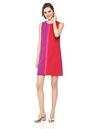 Betsey Johnson Womens Colorblock Scuba Crepe Shift Dress, Pink/Multi, 4