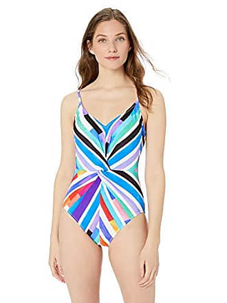 fef359aac4d Gottex Womens Thin Strap Twist Front V-Neck One Piece Swimsuit, Carnival  Multi,