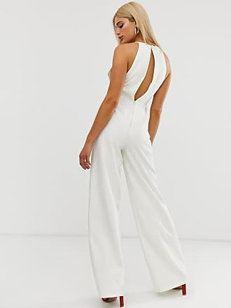 e2e8aa47216 Asos Tall ASOS DESIGN Tall minimal arm hole wide leg jumpsuit with buckle  detail - White