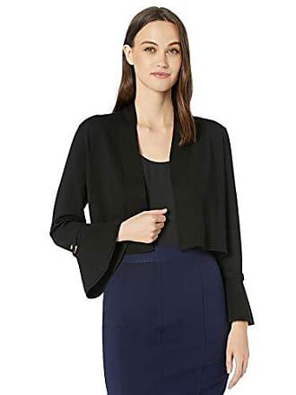Calvin Klein Womens Bell Sleeve Shrug with Gold Hardware Detail, Black, L