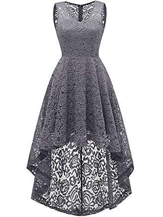 4c4507aa76b5e Dresstells Vokuhila Cocktailkleid elegant Spitzenkleid V-Ausschnitt  Ärmellos Floral Festliche Kleider Grey 2XL