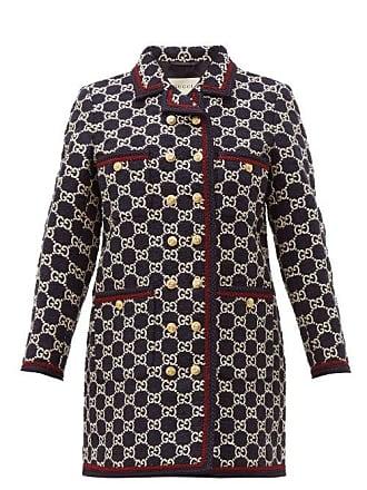 55335d196 Gucci Gg Monogram Tweed Single Breasted Coat - Womens - Navy Multi