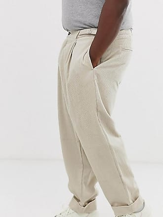 618c9f0296d3 Asos Plus - Pantaloni a palloncino gesso a coste con pieghe - Beige