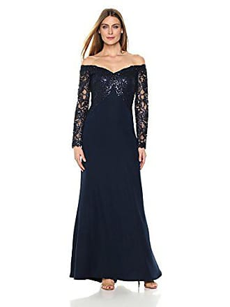 073e6bf2df3 Tadashi Shoji Womens Off Shoulder Sequin Lace Long Sleeve Gown