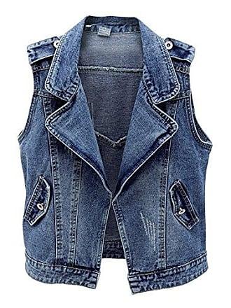 8354354068a548 Cystyle 2018 Damen Denim Weste Jacke Ärmellos Einfache Beiläufige Jeansweste  (EU M=Asia XL
