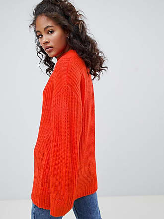 097060715b407 Asos Tall ASOS DESIGN Tall chunky jumper in rib with crew neck - Red