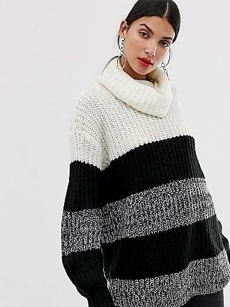 Brave Soul roll neck sweater in wide stripe - Black
