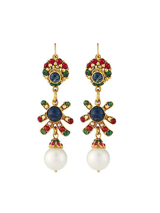 Jose & Maria Barrera Linear Crystal & Pearly Drop Earrings