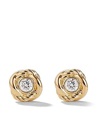 David Yurman 18kt yellow gold and diamond Crossover stud earrings - 88Adi
