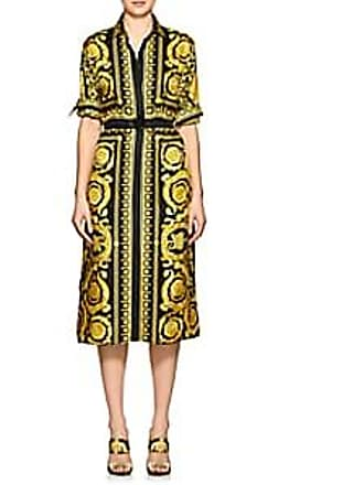 4eff4cbb727d Versace Womens Baroque-Print Silk Belted Shirtdress - Gold Size 42 IT