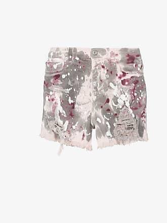 Faith Connexion Paint-splatter raw hem stretch-denim shorts