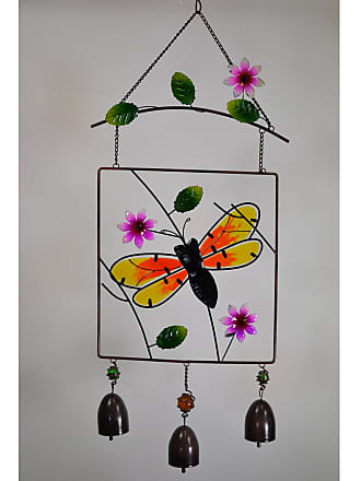 Great World Company Bumble Bee Stained Glass Hanger with Bells - 702103
