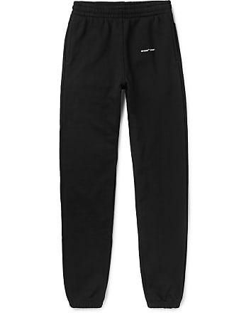 Off-white Slim-fit Logo-print Loopback Cotton-jersey Sweatpants - Black