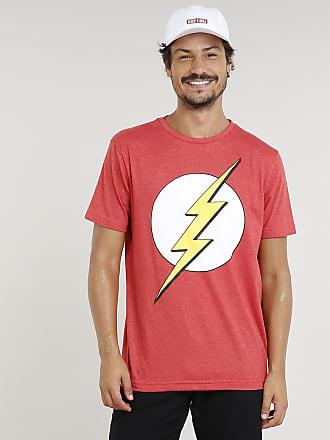 DC Comics Camiseta Masculina The Flash Manga Curta Gola Careca Vermelha
