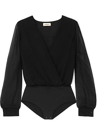 L'agence Tasha Wrap-effect Crinkled Silk-chiffon Bodysuit - Black