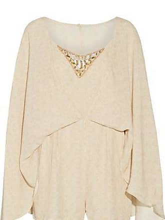 0c57603639a Camilla Camilla Woman Cape-effect Embellished Printed Crepe Playsuit Beige  Size 10