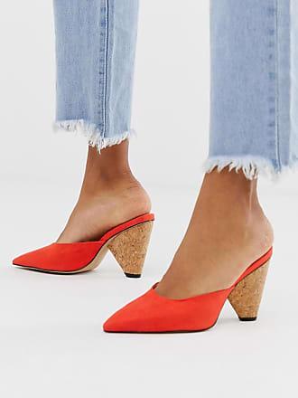 Qupid Qupid wood detail heeled shoes - Orange