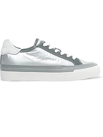 Rag & Bone Army Leather-trimmed Metallic Ripstop Sneakers - Silver