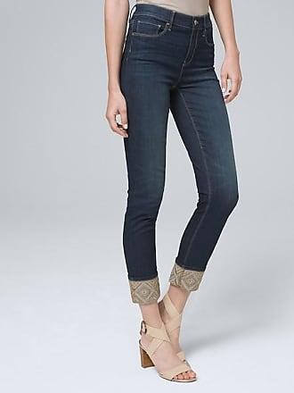 White House Black Market Womens High-Rise Embroidered-Cuff Slim Crop Jeans by White House Black Market, Dark Wash, Size 12 - Regular