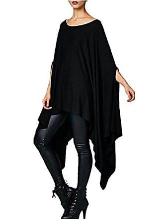 b83c1bb949853 Minetom Damen Unregelmäßige Strick Poncho Langarm Pullikleid Longshirt Bluse  Top Oversize Minikleid Schwarz DE 38