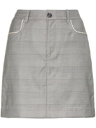 66958d64c9 Ganni Merkel check silk and wool blend skirt - Grey