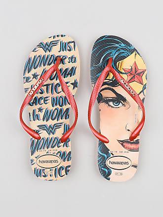 DC Comics Chinelo Feminino Havaianas Slim Mulher Maravilha Estampado Laranja Claro