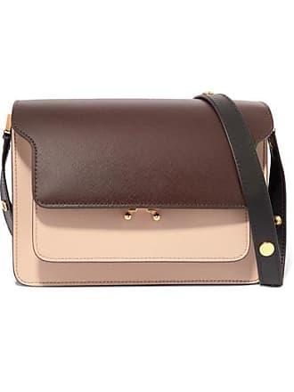 Marni Trunk Medium Color-block Textured-leather Shoulder Bag - Dark brown 5b759fc50f138
