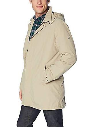 Nautica Mens Zip Front Lightweight Rainbreaker Jacket Coat, True Khaki, Large