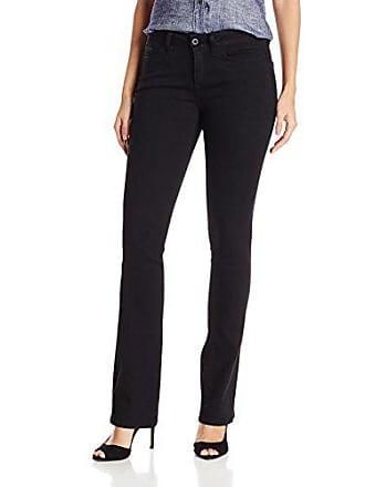 Yummie Tummie Womens Mid Rise Slimming Bootcut Denim Jeans, Black, 33
