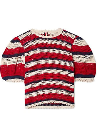 Ulla Johnson Amata Striped Crocheted Cotton Top - Red