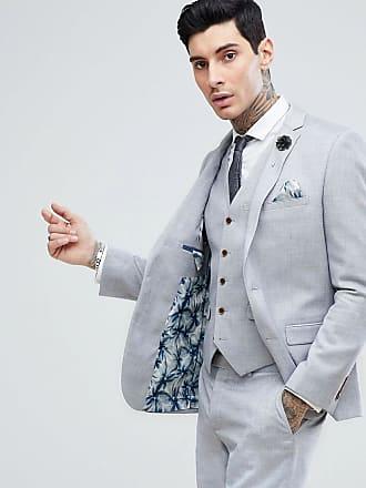 Harry Brown Blå kavaj i linne med stretch i smal passform - Blå 2927653ee975c